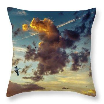 Birds In Flight At Sunset Throw Pillow
