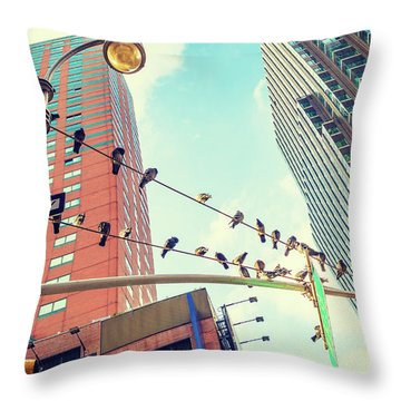 Birds In New York City Throw Pillow
