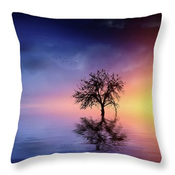 Birds In The Trees, Some Are Fleeing Throw Pillow