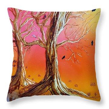 Birds In Trees Throw Pillow
