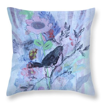 Throw Pillow featuring the painting Birds Just Wanna Have Fun by Robin Maria Pedrero