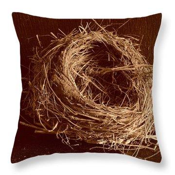 Bird's Nest Sepia Throw Pillow
