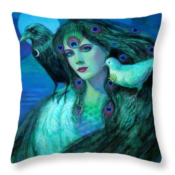 Birds Of Duality Fantasy Art Throw Pillow