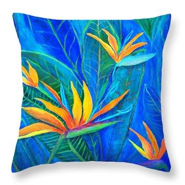 Birds Of Paradise In Florida Throw Pillow