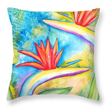Birds Of Paradise Throw Pillow by Carlin Blahnik