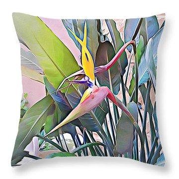 Throw Pillow featuring the mixed media Birds Of Paradise  by Lucia Sirna