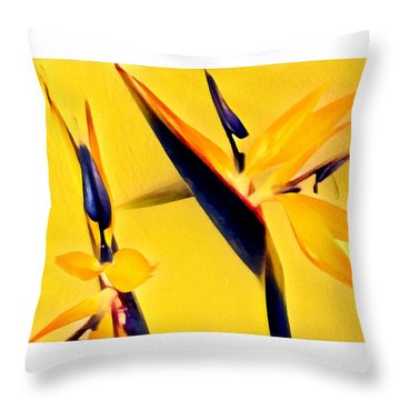 Birds Of Paradise - Two In Gold Throw Pillow