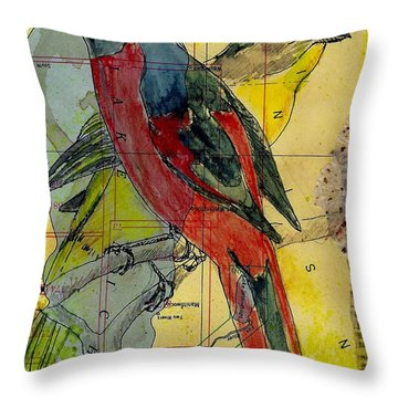 Birds On A Map Throw Pillow