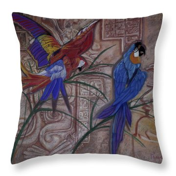 Birds On A Mayan Wall Throw Pillow