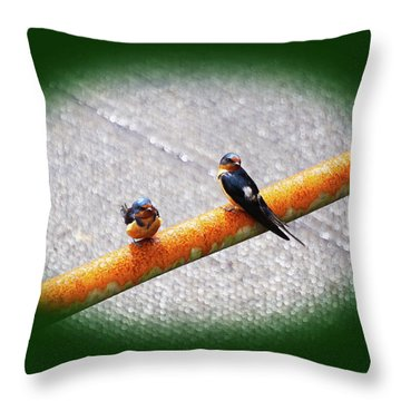Birds On A Pipe Throw Pillow by Angi Parks