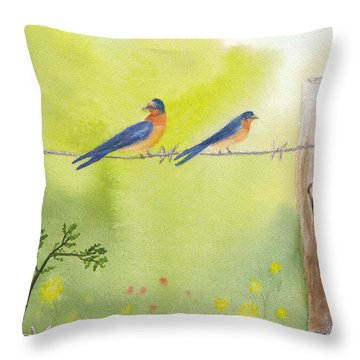 Birds On A Wire Barn Swallows Throw Pillow