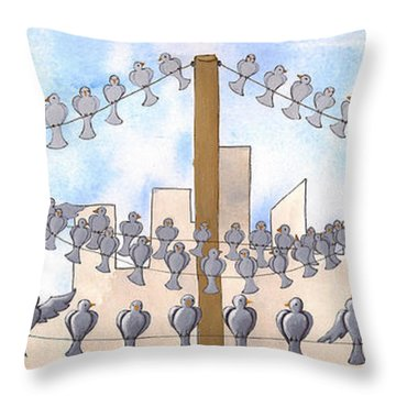 Birds On A Wire Throw Pillow by Christy Beckwith