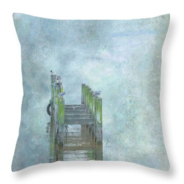 Throw Pillow featuring the digital art Birds On Abandoned Dock by Randy Steele
