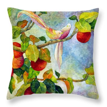 Birds On Apple Tree Throw Pillow