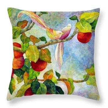 Birds On Apple Tree Throw Pillow