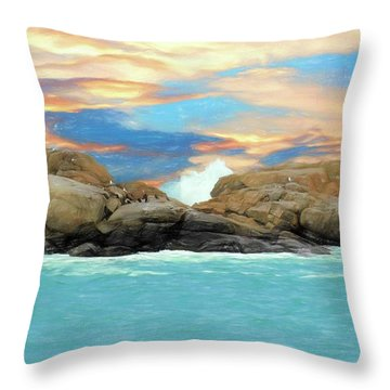 Birds On Ocean Rocks Throw Pillow
