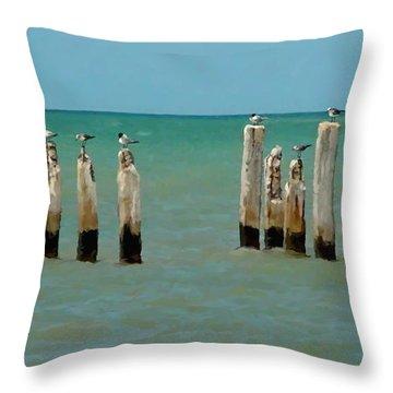 Birds On Sticks Throw Pillow