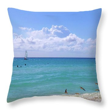 Throw Pillow featuring the photograph Birds On The Beach M4 by Francesca Mackenney