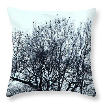 Birds On The Tree Monochrome Throw Pillow