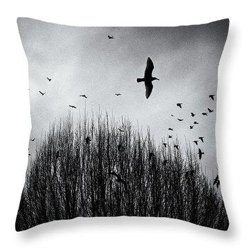 Birds Over Bush Throw Pillow