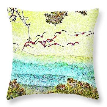 Birds Over Horizon - Boulder County Colorado Throw Pillow by Joel Bruce Wallach