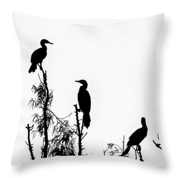 Birds Perched On Branches Throw Pillow