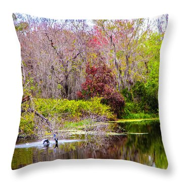 Throw Pillow featuring the photograph Birds Playing In The Pond 3 by Madeline Ellis