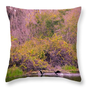 Throw Pillow featuring the photograph Birds Playing In The Pond 2 by Madeline Ellis
