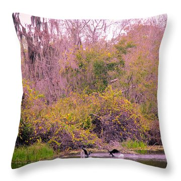 Throw Pillow featuring the photograph Birds Playing In The Pond 1 by Madeline Ellis