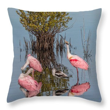 Birds, Reflections, And Mangrove Bush Throw Pillow