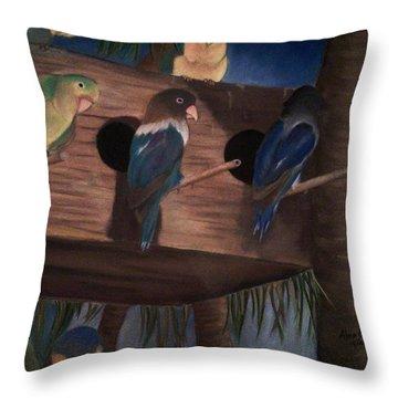 Birds Resting Throw Pillow