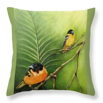 On The Lookout, Birds  Throw Pillow