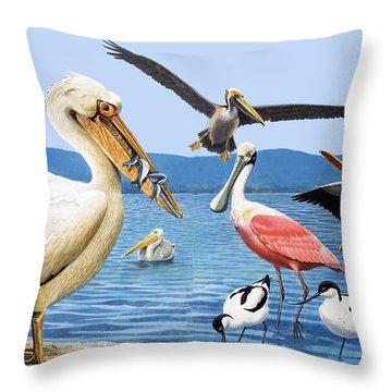 Birds With Strange Beaks Throw Pillow by R B Davis