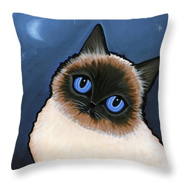 Birman Blue Night Throw Pillow by Leanne Wilkes