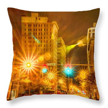 Birmingham Alabama Evening Skyline Throw Pillow by Alex Grichenko