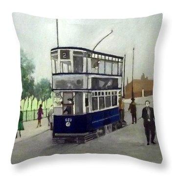 Birmingham Tram With Figures Throw Pillow