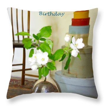 Birthday Apple Blossoms Throw Pillow