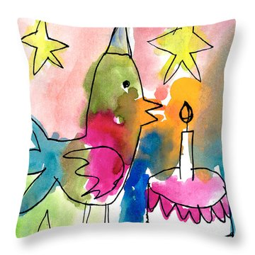 Birthday Bird Throw Pillow