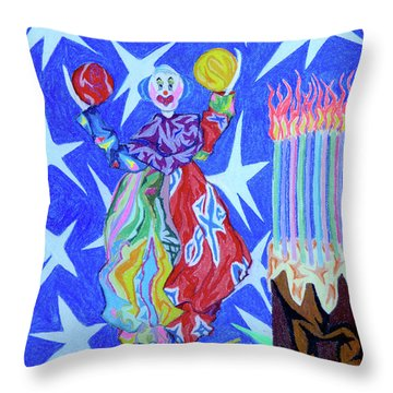 Birthday Clown Throw Pillow