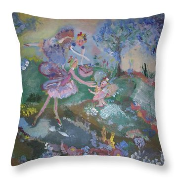Birthday Fairy Throw Pillow by Judith Desrosiers