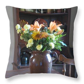 Birthday Jug Of Flowers Throw Pillow