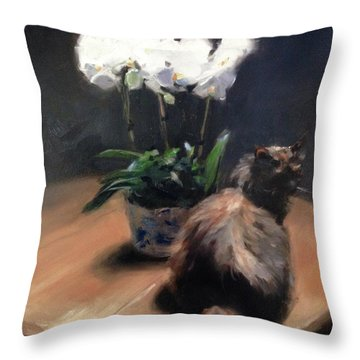 Birthday Orchids Throw Pillow
