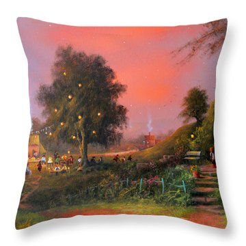 Birthday Party In The Shires Throw Pillow