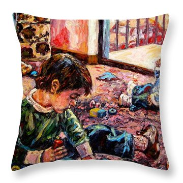 Throw Pillow featuring the painting Birthday Party Or A Childs View by Kendall Kessler