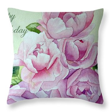 Birthday Peonies Throw Pillow