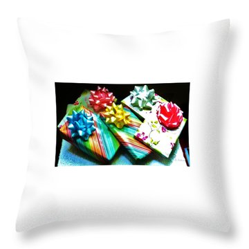 Birthday Presents Throw Pillow by Denise Fulmer