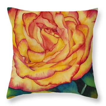 Throw Pillow featuring the painting Birthday Rose by Judy Mercer