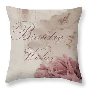 Birthday Wishes - Candles, Crystal And Roses Throw Pillow by Sandra Foster