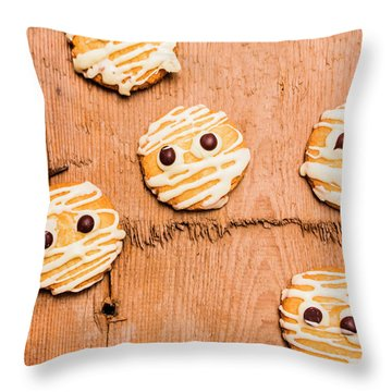 Biscuit Gathering Of Monster Mummies Throw Pillow