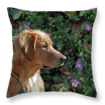 Biscuit With Flowers Throw Pillow